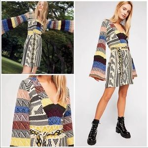 Free People multicolor patchwork sweater dress M